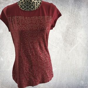 Burgandy Liz Claiborne sequin Top - MT